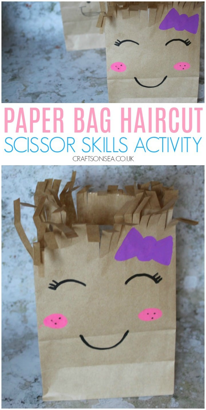 Paper bag haircut scissor skills activity preschool easy