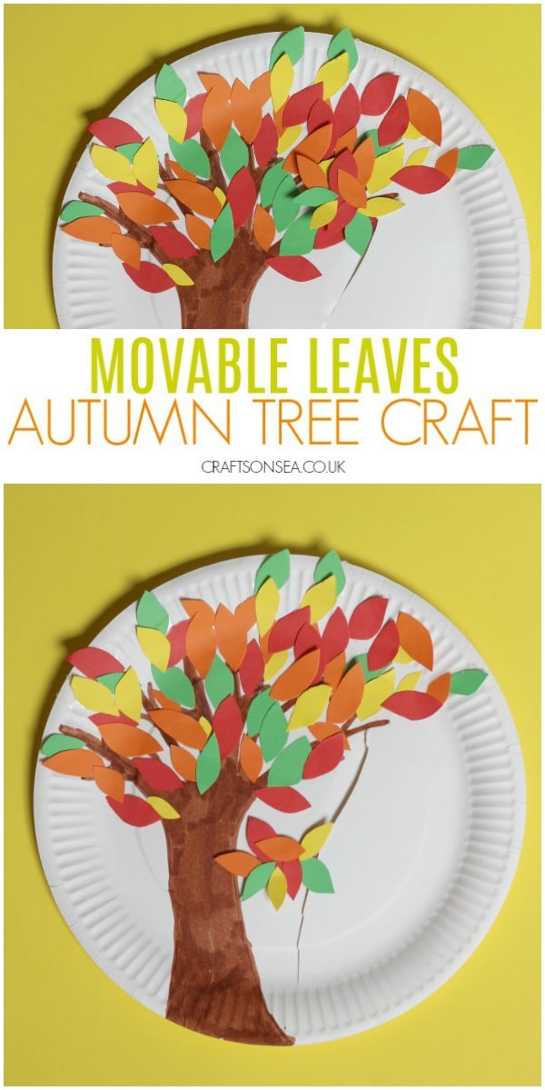 autumn tree craft for kids fall leaves movable paper plate
