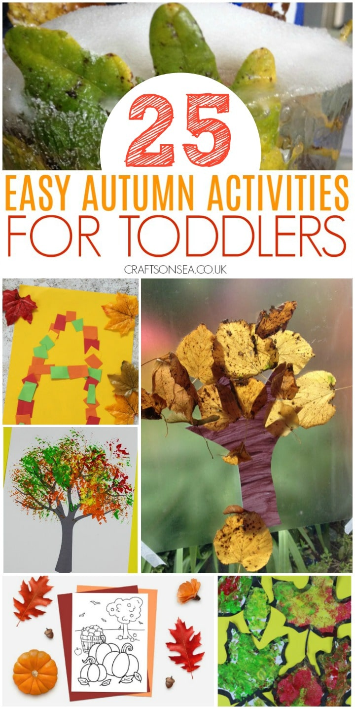 collage image of easy autumn activities for toddlers with fine motor activities and sensory play ideas