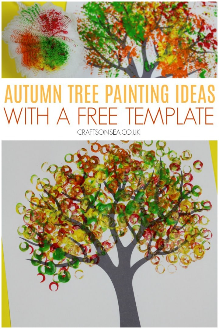 autumn tree painting ideas for kids with a free template