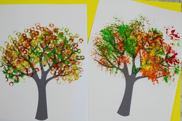 autumn tree painting ideas with template