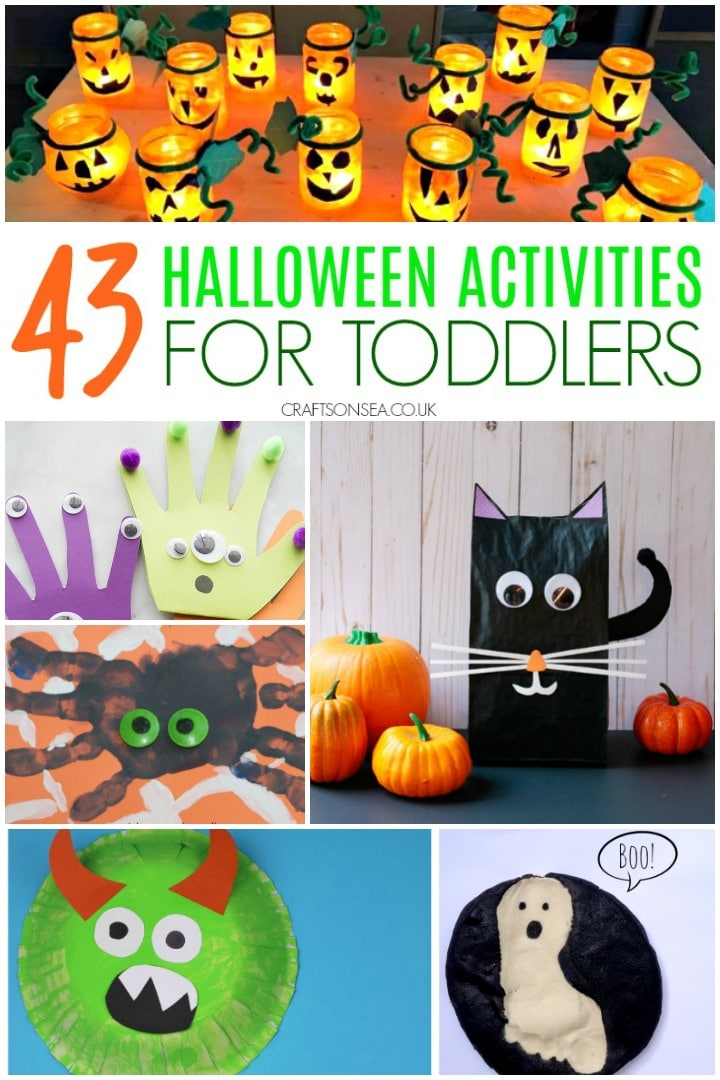 easy halloween activities for toddlers with black cat, ghost, spider and pumpkin ideas