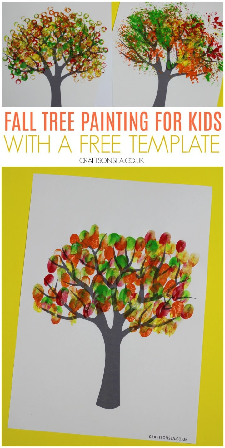 fall tree painting for kids with a free template