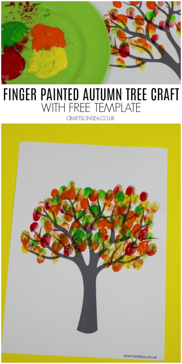 finger printed autumn tree craft with template