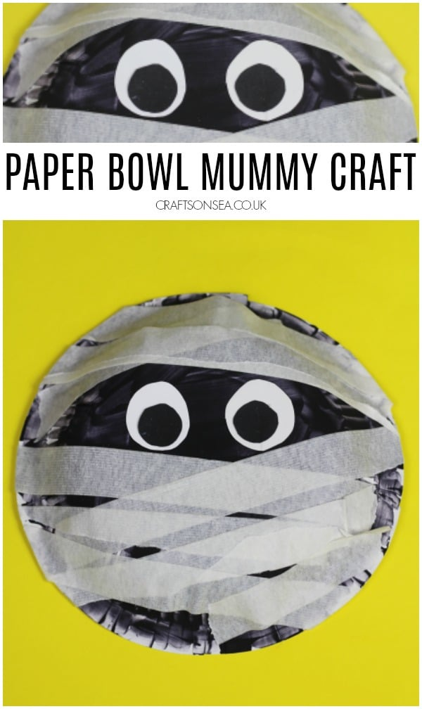 paper bowl mummy craft easy preschool halloween fine motor idea