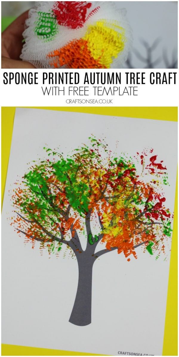 sponge printed autumn tree craft with template