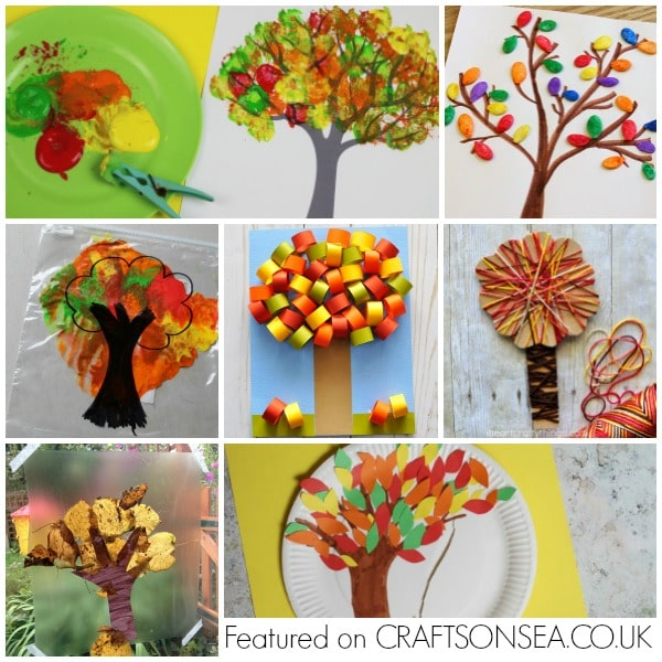 autumn tree crafts for kids collage