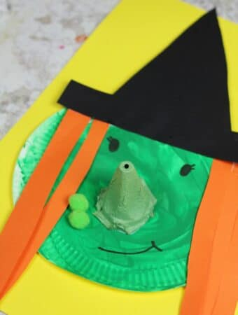 easy witch craft for kids using a paper plate and egg box