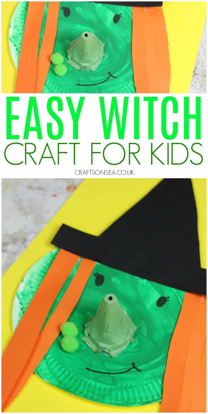 easy witch craft for kids made with paper plates and egg boxes