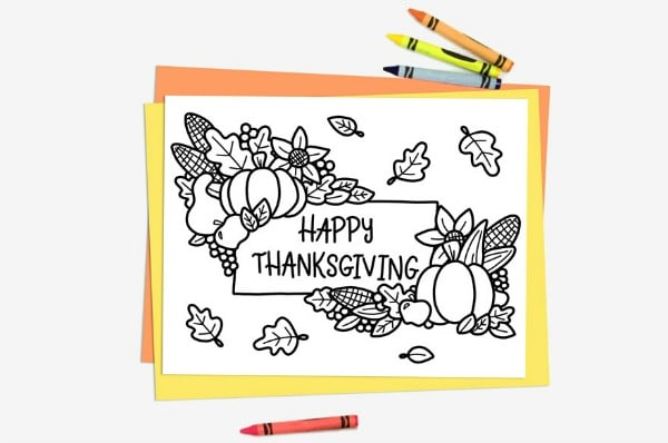 happy thanksgiving coloring page kids