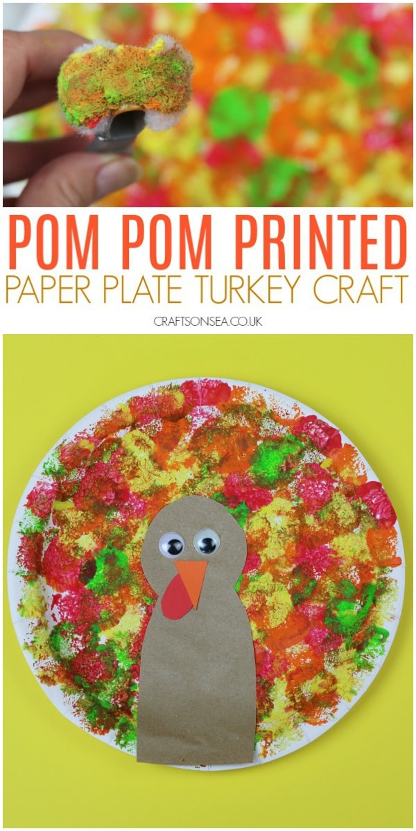 paper plate turkey craft fine motor pom poms