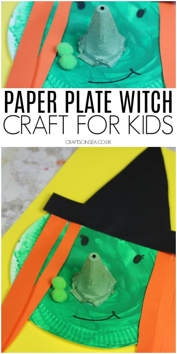 paper plate witch craft for kids halloween