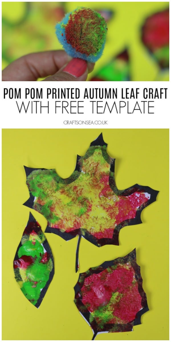 pom pom painted autumn leaf craft for kids