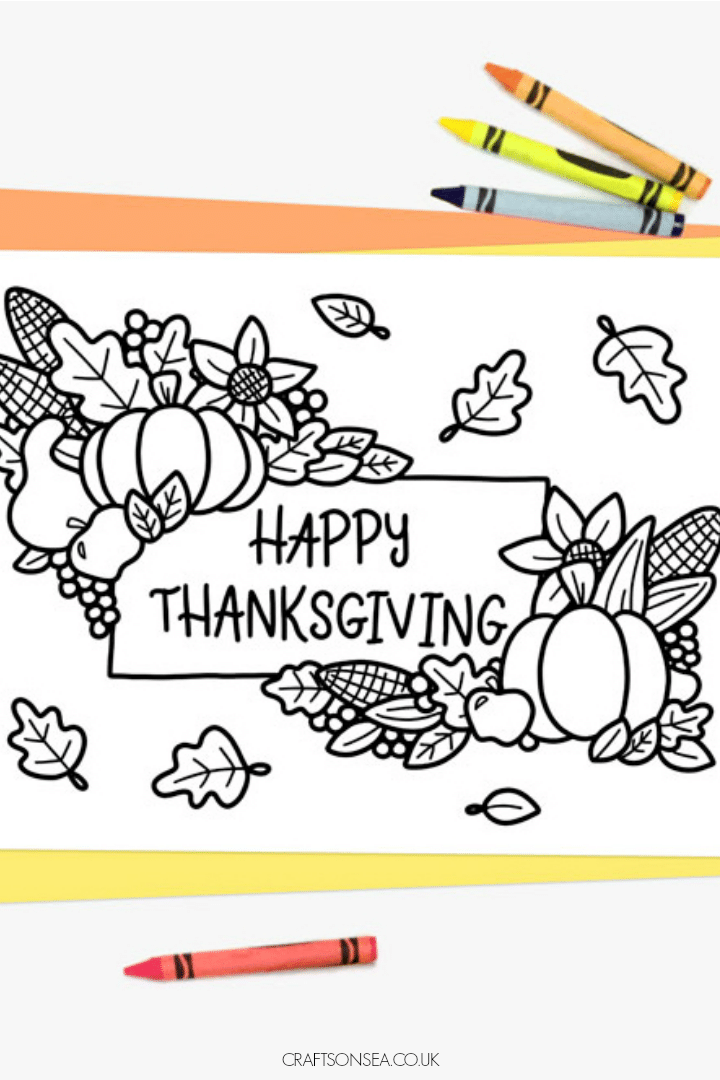 thanksgiving colouring page for kids free design