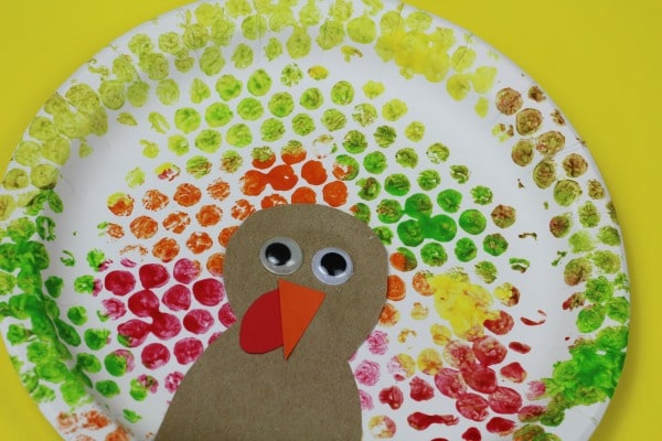 bubble wrap paper plate turkey