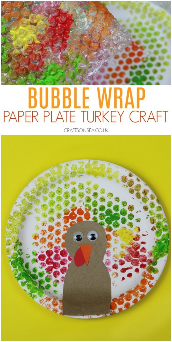 bubble wrap paper plate turkey craft easy activity for Thanksgiving