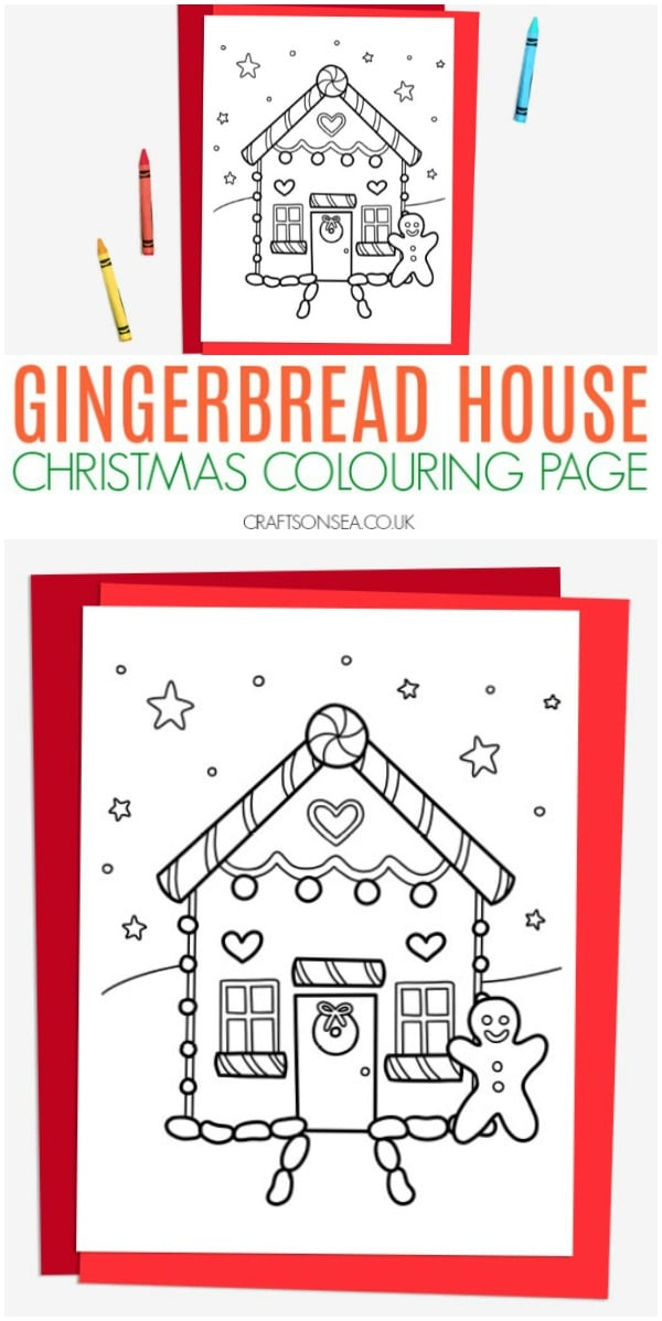 gingerbread house christmas colouring page for kids