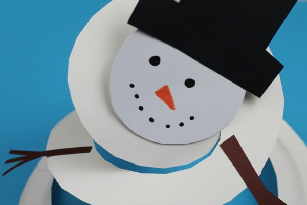 paper plate snowman twirler craft for kids