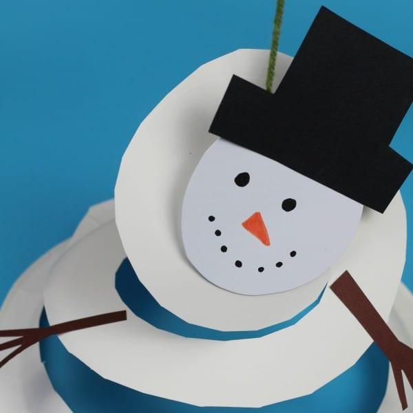 paper plate snowman twirler square image