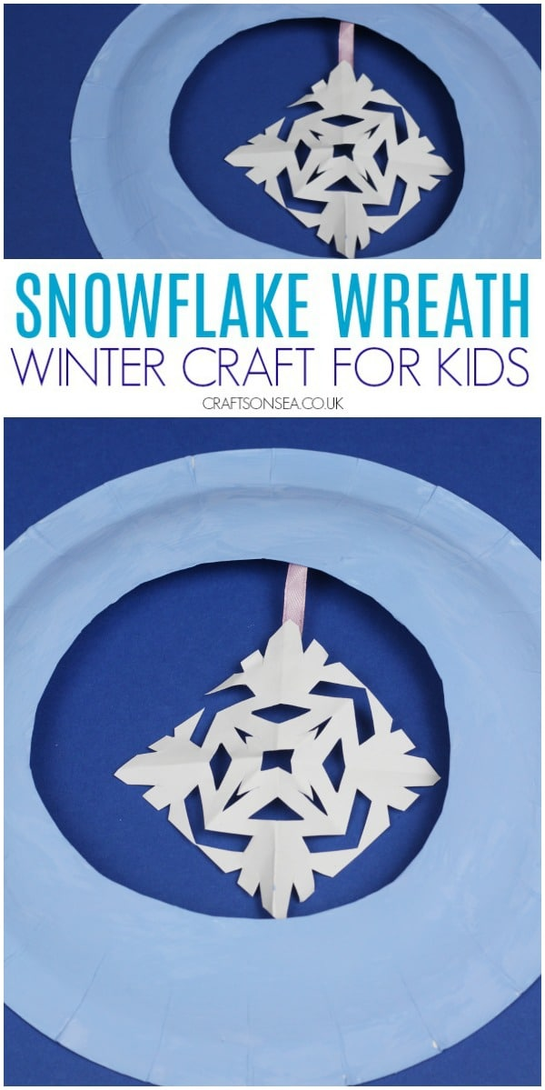 snowflake wreath winter craft for kids easy #wintercrafts #christmascrafts