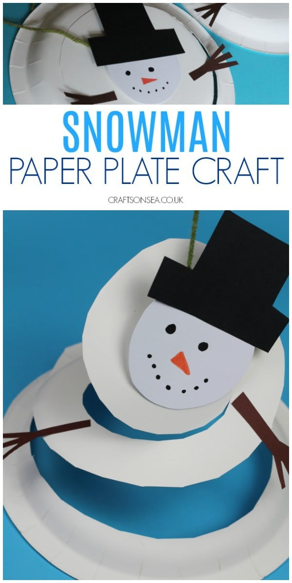 snowman paper plate craft for kids winter christmas #christmascraft #christmascraftsforkids #snowman