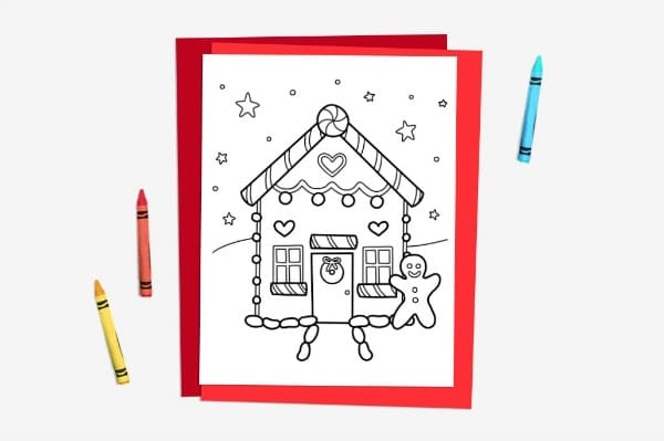 free winter colouring page for kids gingerbread house #colouring #coloring #christmascrafts