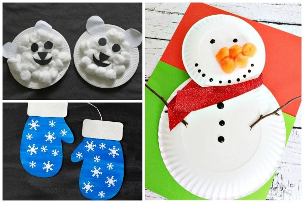 winter crafts for toddlers snowman mittens