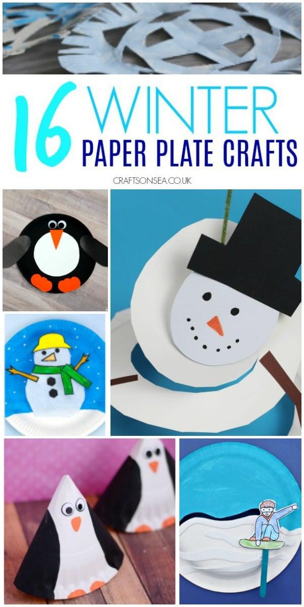 winter paper plate crafts easy #wintercraftsforkids #kidscrafts