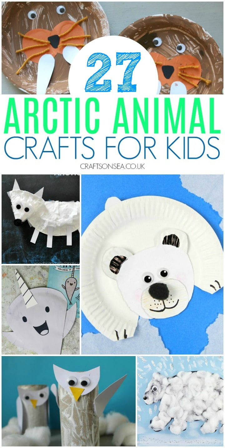 arctic animal crafts for kids with polar bear, walrus, narwhal and arctic fox paper plate crafts