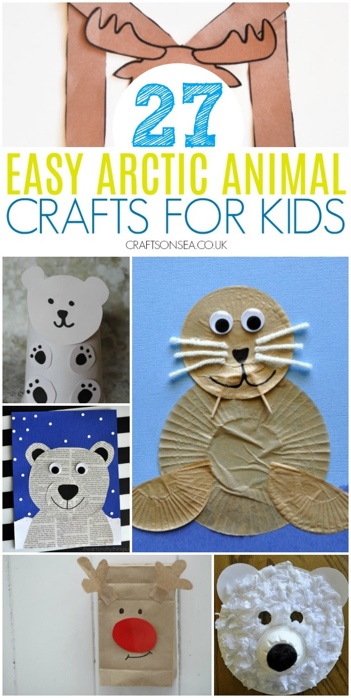 easy arctic animal crafts for kids with polar bear crafts and a cupcake liner walrus craft