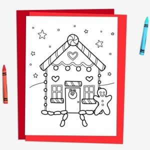 gingerbread house colouring page 300