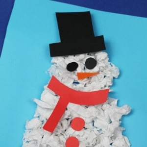 scrunched paper snowman craft 300