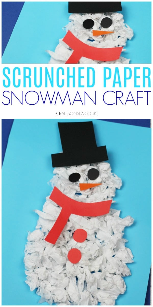 scrunched paper snowman craft for kids easy #kidscrafts #wintercrafts