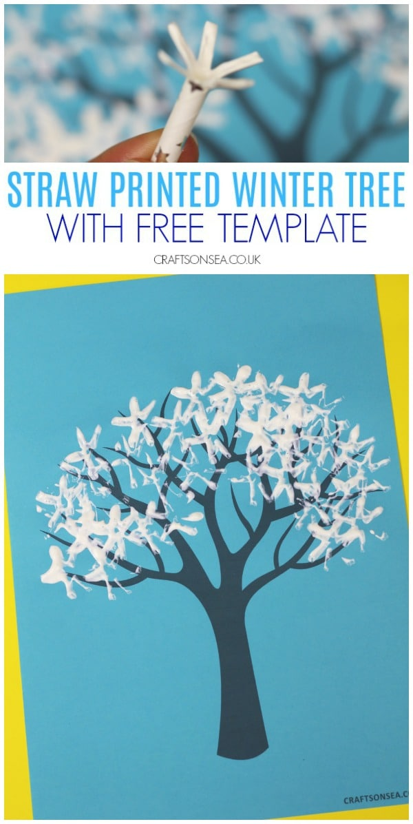 straw printed winter tree craft for kids #wintercrafts #winteractivities