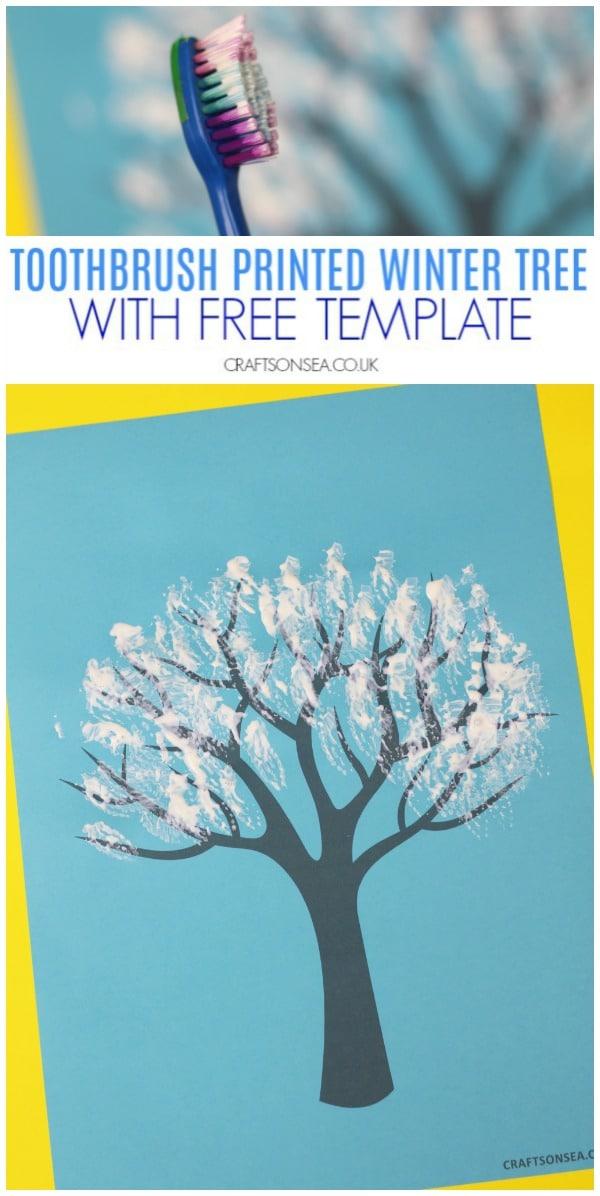 toothbrush printed winter tree craft #wintercraft #snowcraft