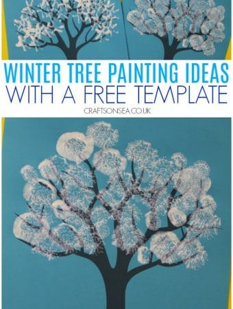 winter tree painting ideas for kids with a free template