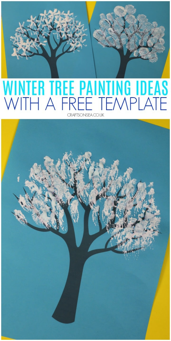 winter tree painting ideas for kids with a free template prefect for preschoolers and toddlers