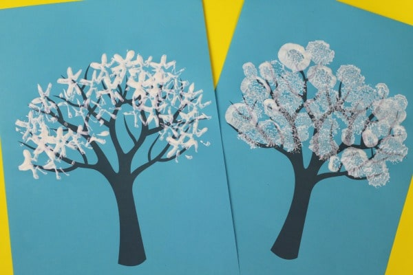 winter tree painting ideas kids can do