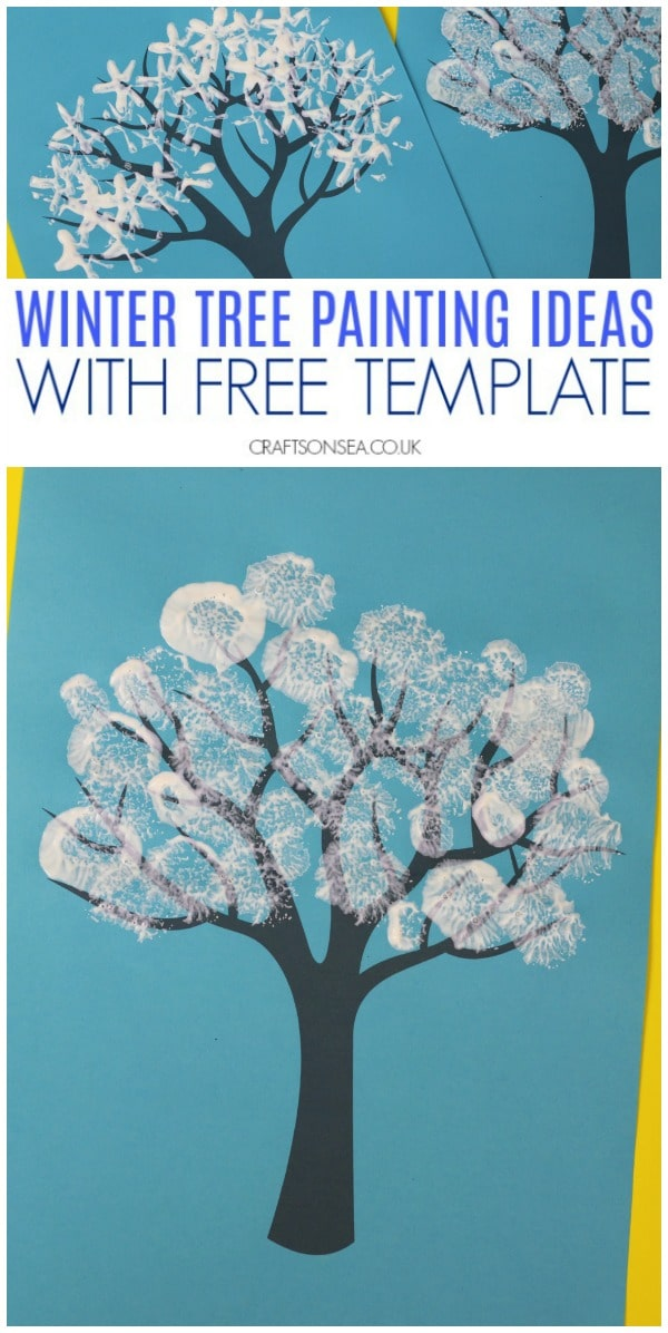 winter tree painting ideas with free template #wintercrafts #kidscrafts