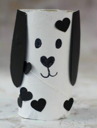 Dog Valentines Day Craft For Kids Made With a Toilet Roll