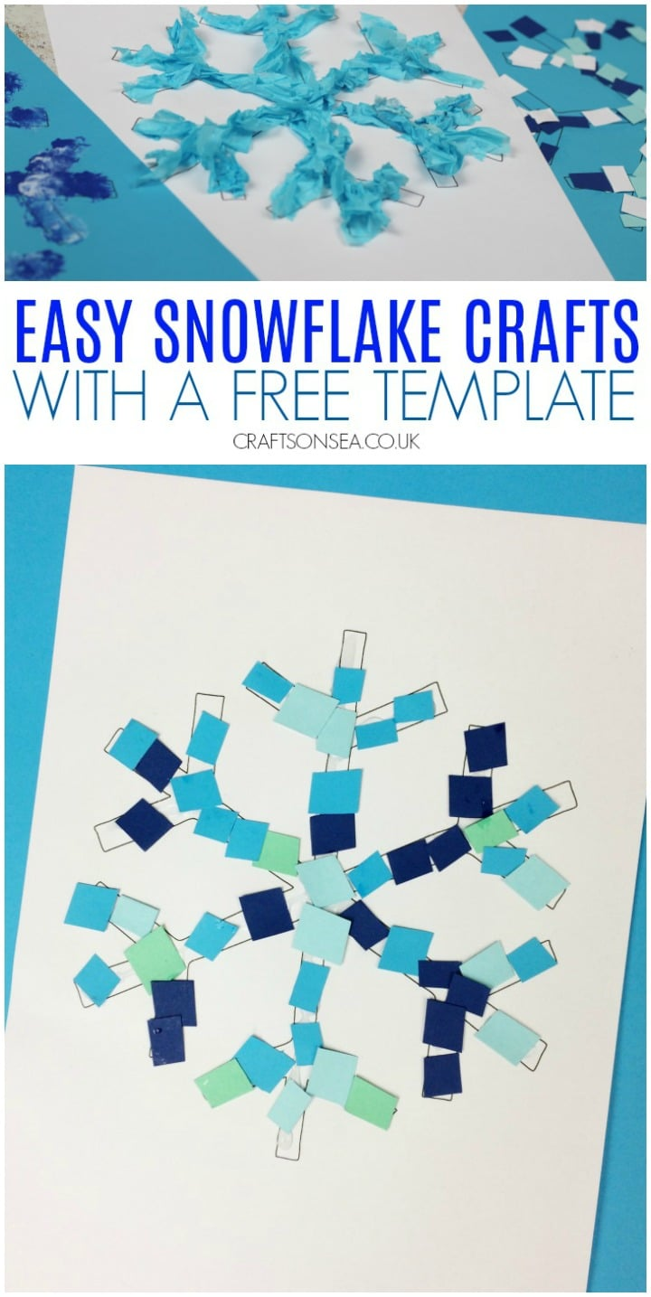 Easy snowflake crafts for kids using a free template