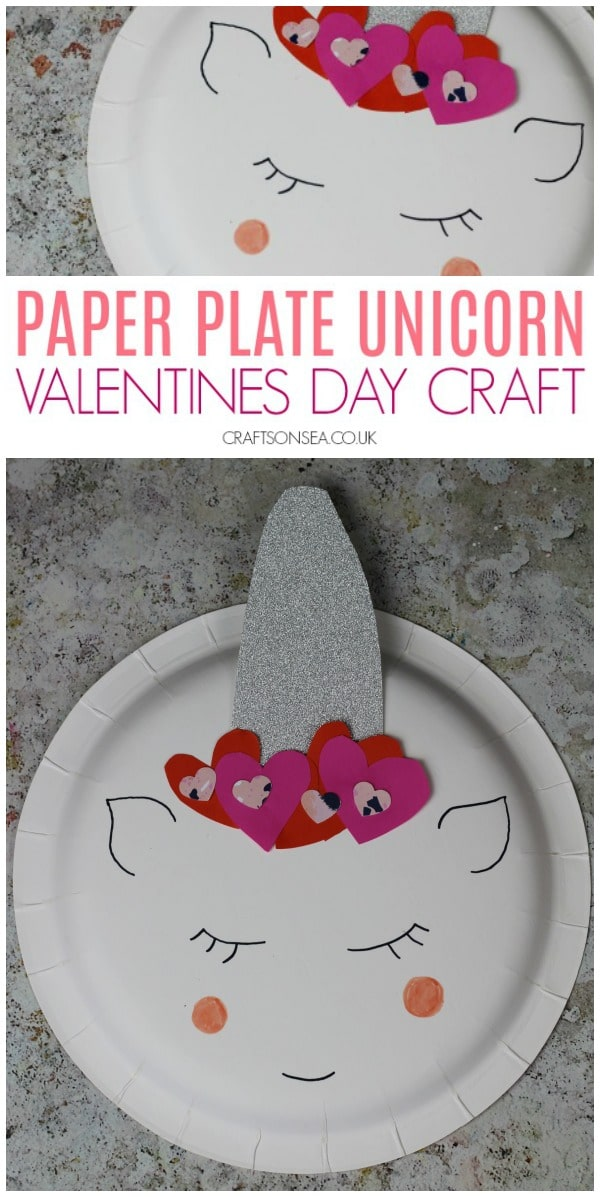 Valentines Day craft for kids unicorn paper plate #kidscrafts