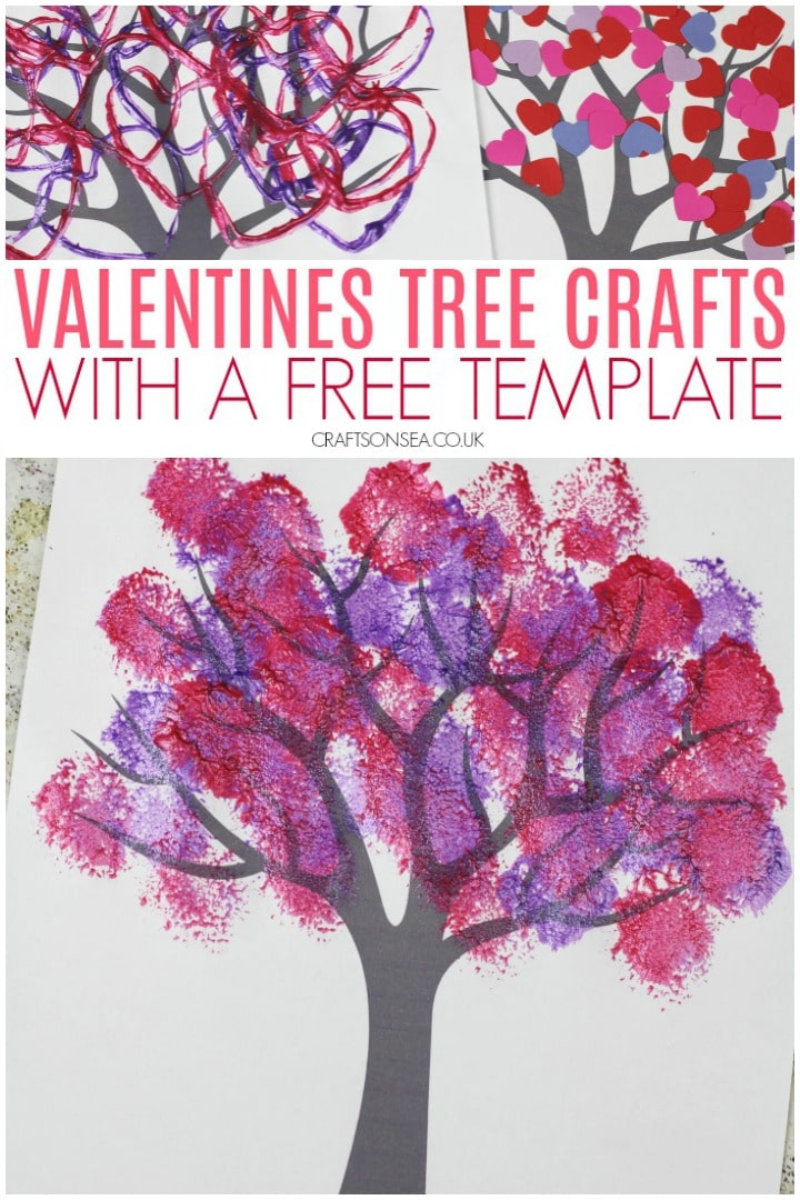 Valentines Tree crafts with a free template perfect for kids crafts