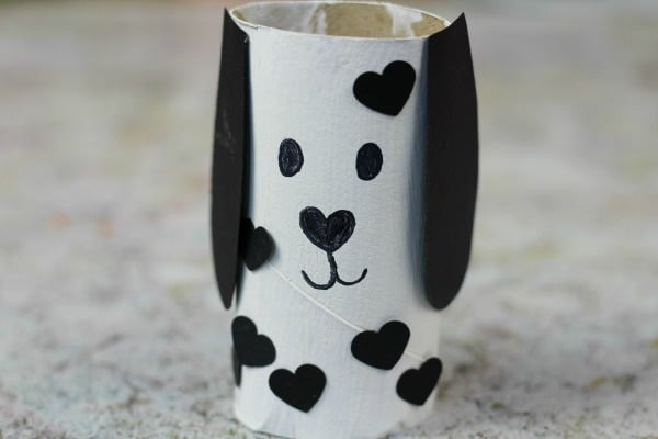 cute dog valentines day toilet roll craft