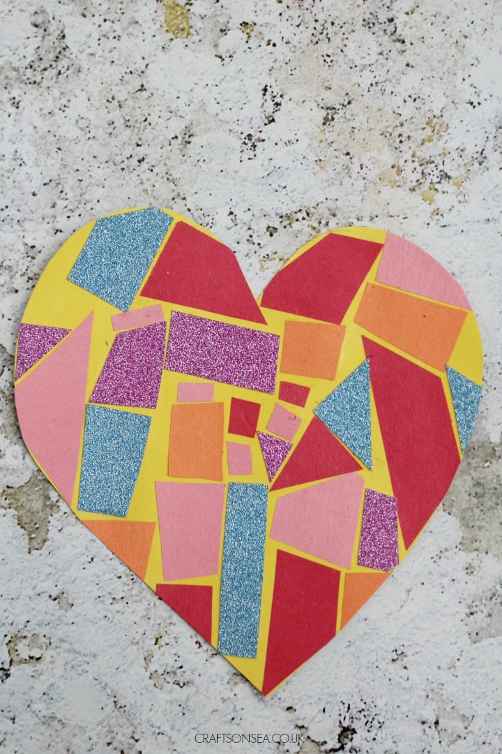 easy mosaic heart craft for kids