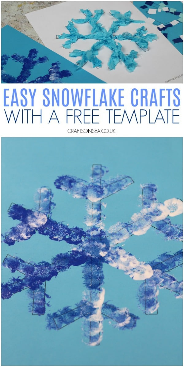 easy snowflake crafts for kids art ideas #kidscrafts