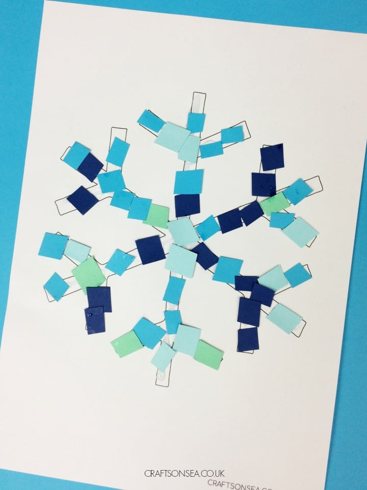 easy snowflake crafts for kids mosaic design