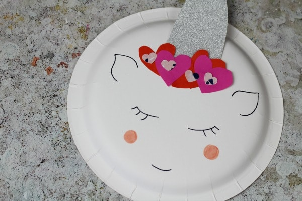 easy unicorn valentines paper plate craft