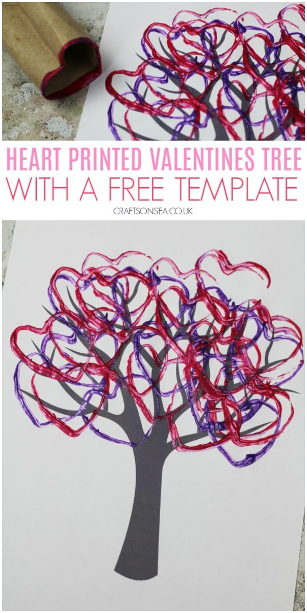 heart printed valentines tree craft for kids cardboard tube