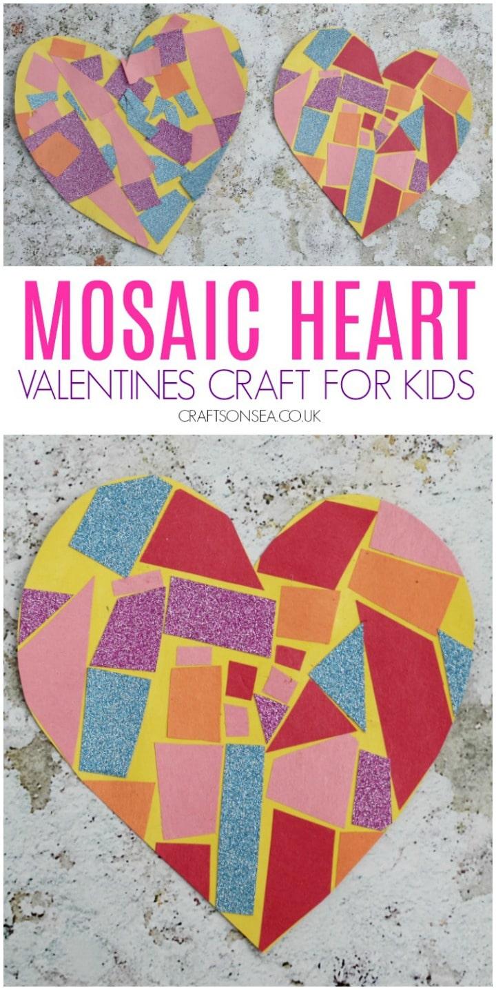 paper mosaic heart craft for preschoolers